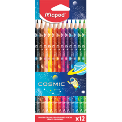 POCH 12 CRAYONS COULEUR COSMIC